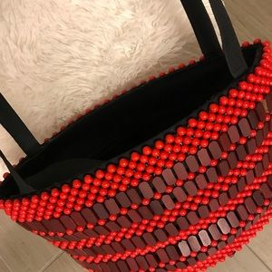 Handbags - African handmade beaded red and black tote
